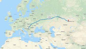 Mapa - Beograd - Astana
