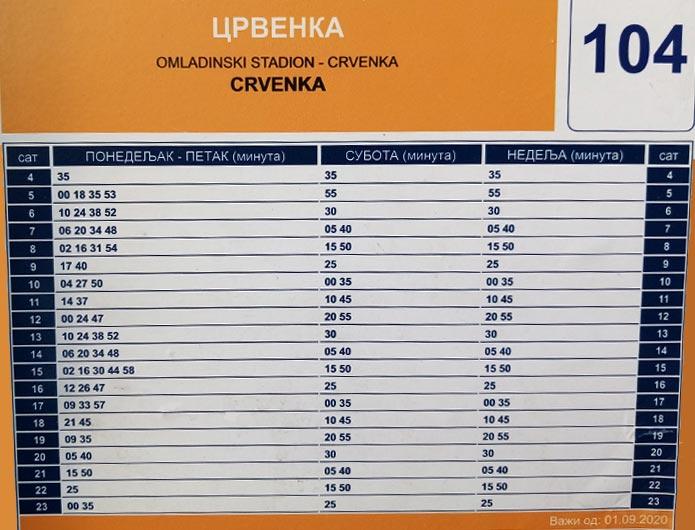 Red vožnje bus 104 - Crvenka
