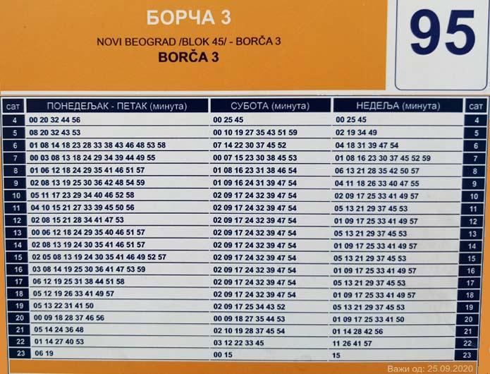 Red vožnja bus 95 - Borča
