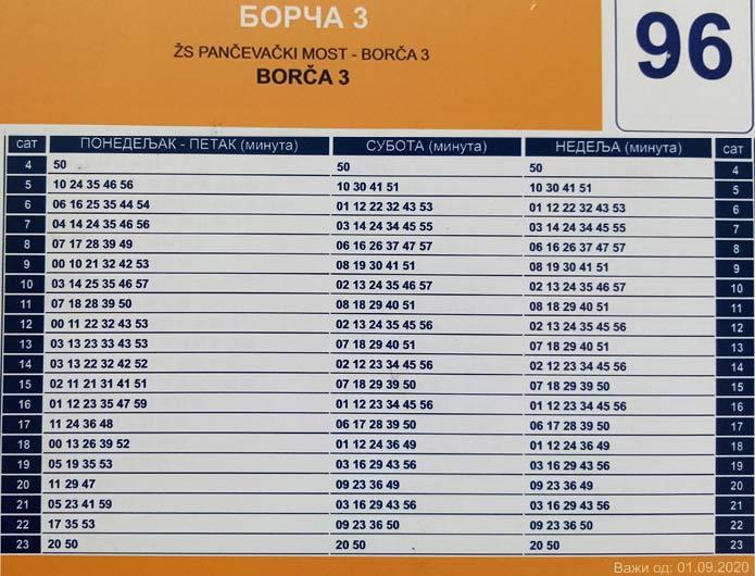 Рed vožnje bus 96 - Borča